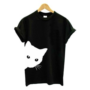 Harajuku Schwarzes T-shirt Frauen Tops Punk Cartoon Katze Gesicht Brief Drucken T-shirt Femme T-shirt Beiläufige Lose T O Hals Tops