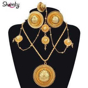 Shamty Ethiopian Brautschmuck Sets reine Goldfarbe afrikanische Hochzeit Ohrringe Halsketten Ringe Kopfschmuck Set Habesha Stil A30036 J190705