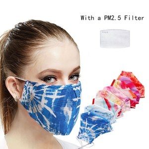 3D cross-border fashion tie-dye design face masks with Disposable filter printed dust - proof respirator face masks