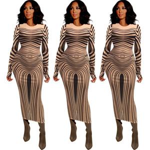 Sexy durchschauen Frauen Kleider Art und Weise Striped Langarm-Mesh-Bodycon Kleider New 20FW Frauk