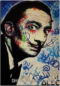 vA .. Alec Monopoly Banksy alta qualidade pintado à mão Abstract Graffiti Art Oil Painting Salvador Dali No G121 Canvas Wall Art Home Office Deco