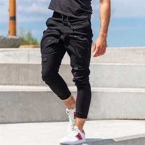 Mens Nueva Abofeteado Delgado Chinos del basculador flacos de gimnasia pantalones cremallera Bolsillos Safari estilo cargo pantalones largos M-3XL