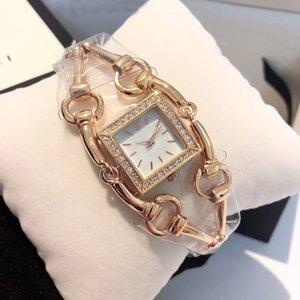 Новый стиль кварцевый Квадрат белый циферблат Gu женщин золотые часы ремешок сапфировое стекло Бесплатная доставка