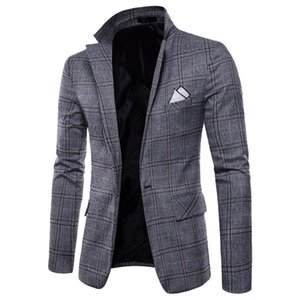Mens fashion Dance brand Blazer pattern Business affairs Wedding Stage Long sleeve grid Suit Jackets dropshipping Slim top coats