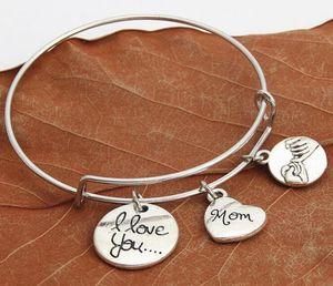 20pcs Erweiterbare Draht-Armband justierbare Designer Schmuck Armband I Love You Mom Pinky Swear Versprechen Charm Bracelets Geschenk der Mutter Tages
