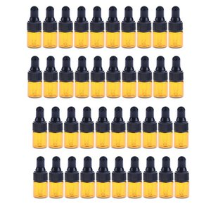 40pcs Mini Refillable Glass Empty Dropper Bottle For Essential Oils Massage Oils Perfume Makeup 1ML 2ML