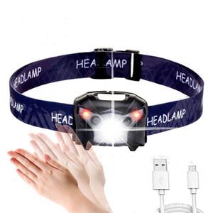 Rechargeable LED Lampe frontale Lampe frontale rechargeable Puissante LED phare du corps détecteur de mouvement tête lampe de poche Camping Lampe torche lumière avec USB
