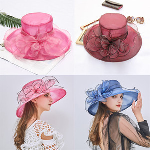 Tela Womens Organza Flower Summer Fashion Hat Beach Sun casamento chapéu Hat Floral Partido Church 20 cor 100pcs T1I1930