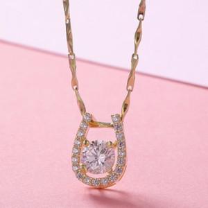 Мода-925 Sterling Silver W / золото Цвет CZ U Форма подковы Pingente кулон ожерелье женщин девушки ювелирных изделий Undertale Pendentif Pendulo