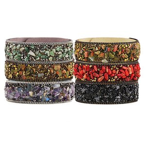 Stone Natural Bangle High Bracelet Quality Multicolor Gravel Crystal Leather Bracelet Paris Fashion Model Show Jewelry 7 FPCT