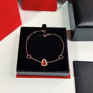 S925 Sterling Silver Agata rossa zucca pendente guscio bianco zucca 18k Bracciale rosa il trasporto braccialetto libero di doratura delle donne personalizzati
