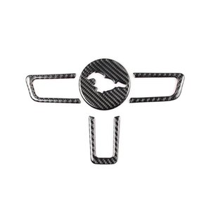 Kipalm Mustang Carbon Fiber reale Emblem Volante per Ford Mustang Adesivi auto Car-Styling 2015-2018 Mustang Stickers Accessori