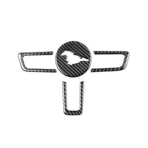 KiPalm Mustang Real Fibre de carbone Emblème de volant de la fibre de carbone pour Stickers de voiture Ford Mustang Car-style 2015-2018 Autocollants Mustang ACCESSOIRES