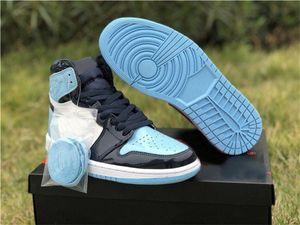 2019 Neue Version 1 High OG UNC Patent ASG WMNS 1S Obsidian Blue Chill-Weiß Basketball-Schuh-Turnschuhe