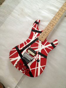 Kramer Gang Edward Van Halen 5150 White Stripe Red Electric Guitarra eléctrica Floyd Rose Tremolo Bridge, Tuerca de bloqueo, Diapasón de mástil de arce