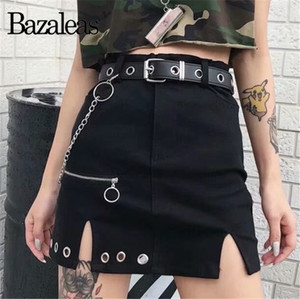 Bazaleas Streetwear Circle Zipper Women A-line Skirt harajuku skirts womens High Waist Chain Mini Skirt Casual Slim Short