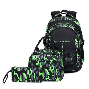 Saco 3PC / Set Camouflage Backpack Impresso Camping Bag Picnic Beer Waterproof Lunch Box Bag Outdoor Sports Camping Caminhadas armazenamento para Adulto