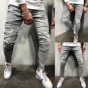 Mid cintura rasgado Longa Mens Calças Lápis Casual Skinny Calças masculinas Lavados Designer Grey Mens Jeans Outono