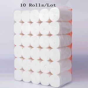 Toptan Hızlı Kargo Tuvalet 10 Rolls / Lot Kağıt 4 Katmanlar Ev Banyo Tuvalet Kağıdı Rulo İlköğretim Odun Hamuru Tuvalet Kağıdı Doku Rulo FS9502