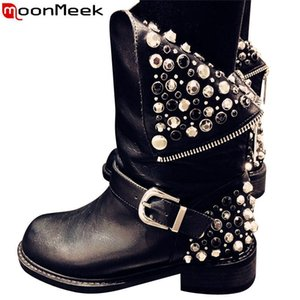 MoonMeek 2020 new genuine leather boots women zipper rivets punk autumn winter boots ladies motocycle