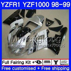 Carrosserie Argenté noir Pour YAMAHA YZF R 1 YZF1000 YZF-R1 1998 1999 Cadre 235HM.41 YZF-1000 YZF R1 98 99 YZF 1000 YZFR1 98 99 Carénage