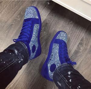 Zapatillas de deporte de cuero de gamuza azul Strass originales baratas marca clásica hombres mujeres zapatos de fondo rojo moda hombre monopatín zapatos casuales 35-47