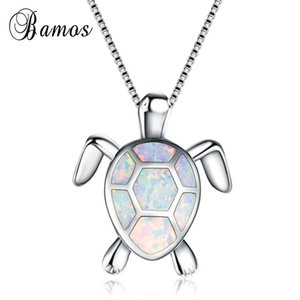 Bamos 4 Color Opal Turtle Necklace For Women 925 Sterling Silver Filled Pendants & Necklaces Valentine's Day Gift For Lover