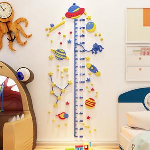 UFO Rocket Altura etiqueta engomada 3D estéreo Para Niños habitación acrílico fondo de pantalla Niño de medida etiqueta de la pared decoración del hogar Y200103
