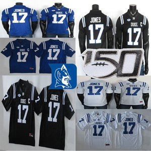 2019 Duke Blue Devils Jerseys 17 Daniel Jones Jersey Blue Black White NCAA College Football Jersey Stitched 150TH Patch