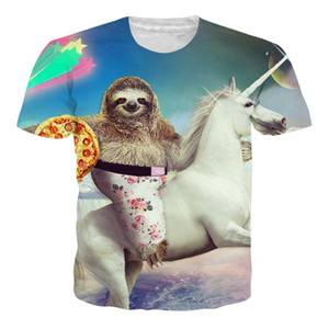 Più nuovo modo degli uomini / donne Sloth Pizza Cavallo Harajuku stile estivo divertente 3d stampa casuale T-shirt H216