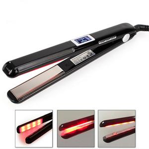 Ultrasónica infrarrojos plancha de pelo Dispositivos de cuidado del frío enderezadora Recupera Dañado tratamiento del pelo de hierro con pantalla LCD Negro