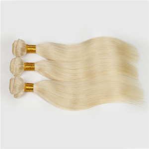 유럽의 금발 # 613 100 % 처리되지 않은 레미 인간의 머리카락을 짜다 흰 금발 스트레이트 4 번들 처녀 머리카락을 머리에 붙임 머리 확장 무료 배송