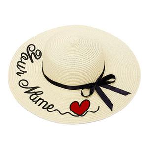 Bordado Personalizado Personalizado LOGOTIPO Do Coração Seu Nome Mulheres Chapéu De Sol Grande Chapéu De Palha De Aba Ao Ar Livre Praia Verão Cap Dropshipp