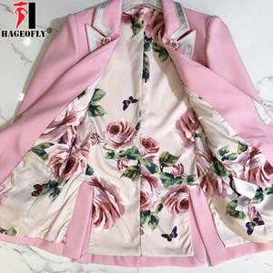 Forma-HAGEOFLY alta qualidade Moda 2018 forro Designer Blazer wng luva floral rosa do rosa Blazers Outer Jacket fêmeas