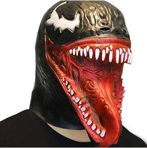 Scary Venom Spider Man Mascot Formato adulto FULL Overhead Lattice Maschera Costume Halloween Cappuccio in lattice Testa di serpente Maschera Prop