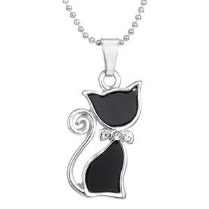 Silber überzogene Rhinestones Kristall nette Katze Anhänger Halsketten Mode Sommer Choker Bowknot Halsketten für Dame Animal Black