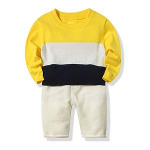 2019 Autumn Baby Boys Clothes Set Kids Stripe Knitted Sweater + Pants Kids 2pcs Set Children Boy Outfits 15227