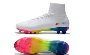 2018 Mejor Calidad de fútbol botas blancas del arco iris 100% originales zapatos zapatos de fútbol Mercurial Superfly FG V de calidad superior del fútbol