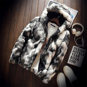 büyük boy Kış Moda Kürk Erkek Giyim Kalın Sahte Kürk Fermuar Ceket Kapşonlu Ceket erkek hoodies mont adam sıcak giysiler