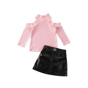 Niño de los bebés ropa para niños suéter suéter Tops PU mini falda Trajes