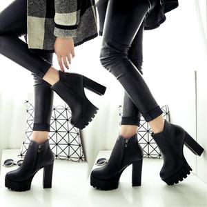 Hochhackige Damen Stiefeletten runde Zehe-Dame-Plattform Martin Stiefel Frühling und Herbst Female-Absatz-Schuhe