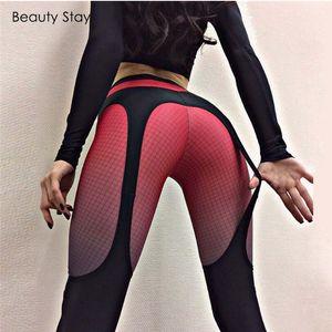 Beauty Stay aptidão Mulheres Leggings poliéster Imprimir Calças Skinny Red cintura alta Elastic Leggings Pants Stretch Plus Size