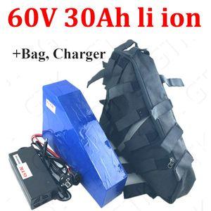 60V 30ah batterie lithium-ion Triangle 60V 40ah li ion 18650 BMS pour 2000w 2500w 500w scooter E vélo vélo + 5A chargeur + sac