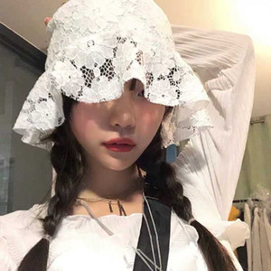 2020 K-pop Hot Chic Weaving Vintage Lace Flores Bucket Hat Fisherman Hat Verão fina respirável Sun For Women H67