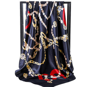 Brand Designer Scarf for Women Spring Letter Pattern Luxury Scarves High Quality Polyester Silk Long Shawls 90*90 cm