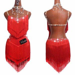 La venta de vestidos para las mujeres latinas América falda de la danza del tango de la salsa Gogo partido del traje del bailarín de la danza cantante de la franja de la borla Vestido Rojo
