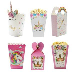Unicorn Paper Candy Box Bags Kraft Paper Gift Bag Popcorn Box Wedding Decor Kids Birthday Party Supplies Baby Shower Girl Favor