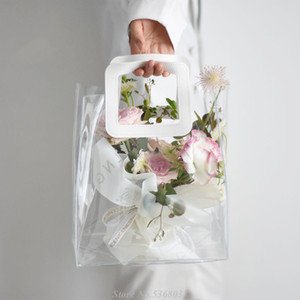 1pc Transparent PVC bag with Handle Flower Arrangement Bag Bouquet Packing flower Wrapping Gift Party Favors Supply