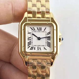 جديد جودة عالية أزياء ماركة الساعات النسائية الفهد أعلى 18 كيلو الذهب الفاخرة الكوارتز المقاوم للصدأ السيدات اللباس ووتش مربع هدية التوصيل المجاني