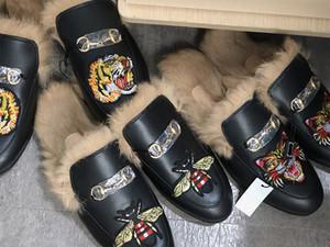 Designer Pelz Maultier Princetown Leder Pantoffel für Frauen Herren Luxus bestickt Slipper Echtes Leder Canvas Samt Freizeitschuhe US5-12